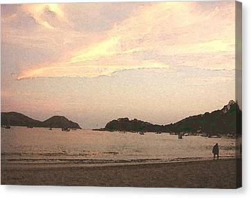 Fishing Bay At Sunset Canvas Print by James Johnstone