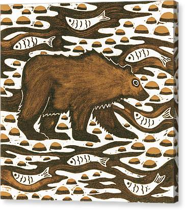 Fishing Bear Canvas Print by Nat Morley