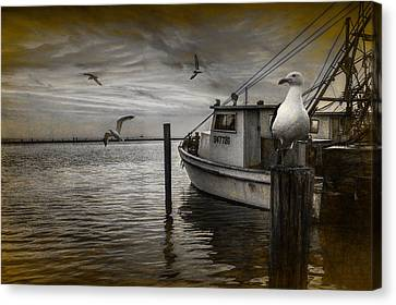 Fishing Boat And Gulls With Painterly Effects Canvas Print