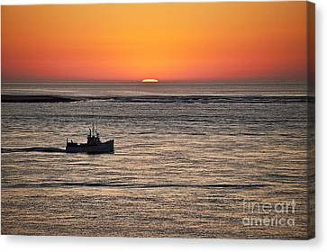 Fishing Boat At Sunrise. Canvas Print by John Greim
