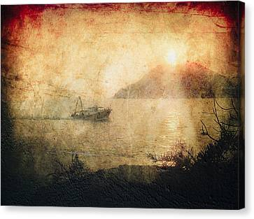 Fishing Boat At Sunset Canvas Print by Loriental Photography