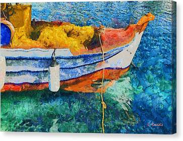 Fishing Boat Canvas Print by George Rossidis