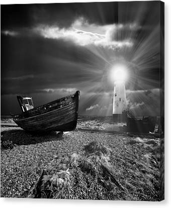 Danger Canvas Print - Fishing Boat Graveyard 7 by Meirion Matthias