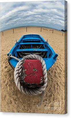 Little Blue Fishing Boat Canvas Print