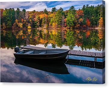 Canvas Print featuring the photograph Fishing Boat On Mirror Lake by Rikk Flohr