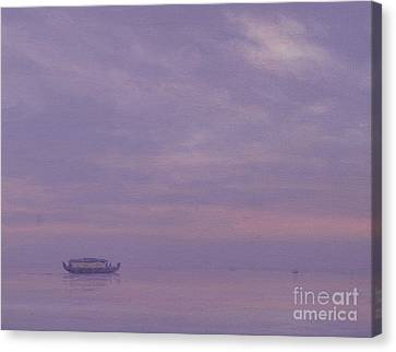 Fishing Boat On Vembanad Lake, Kerala Canvas Print by Derek Hare