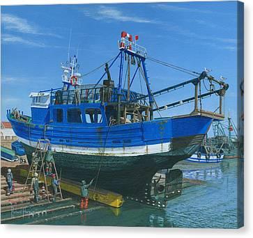 Fishing Boat Repairs Essaouira Morocco Canvas Print by Richard Harpum