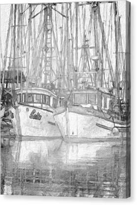 Fishing Boat Sketch Canvas Print by Richard Farrington