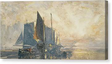 Fishing Boats At Anchor   Sunset Canvas Print