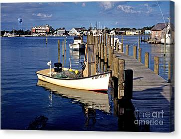 Fishing Boats At Dock Ocracoke Village Canvas Print by Thomas R Fletcher