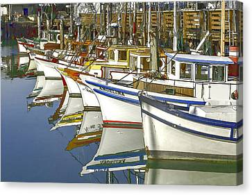 Fishing Boats At Fisherman's Wharf Canvas Print by Bill Gallagher