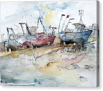 Fishing Boats At Hastings' Beach Canvas Print by Barbara Pommerenke