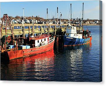 Fishing Boats At Provincetown Wharf Canvas Print by Roupen  Baker
