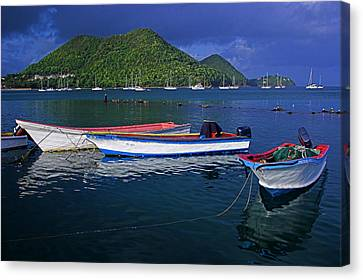 Fishing Boats At Sunrise- St Lucia Canvas Print by Chester Williams