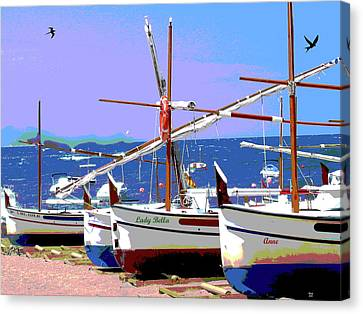 Fishing Boats Canvas Print by Charles Shoup