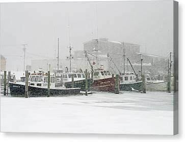 Fishing Boats During Winter Storm Sandwich Cape Cod Canvas Print by Matt Suess
