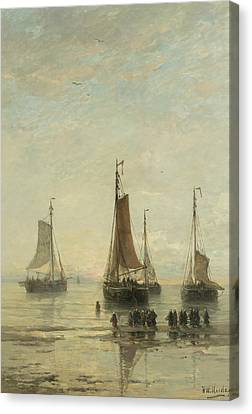 Fishing Boats From Scheveningen Anchored Canvas Print by Hendrik Willem Mesdag