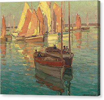 Fishing Boats In A Harbor Canvas Print