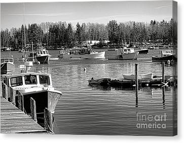 Maine Winter Canvas Print - Fishing Boats In Friendship Harbor In Winter by Olivier Le Queinec