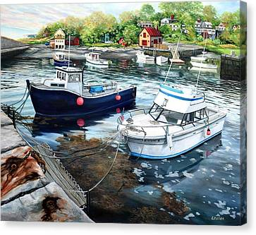 Fishing Boats In Lanes Cove Gloucester Ma Canvas Print by Eileen Patten Oliver