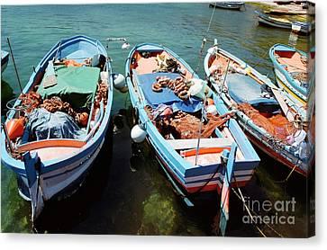 Fishing Boats In The Harbor Of Mondello, Sicily Canvas Print