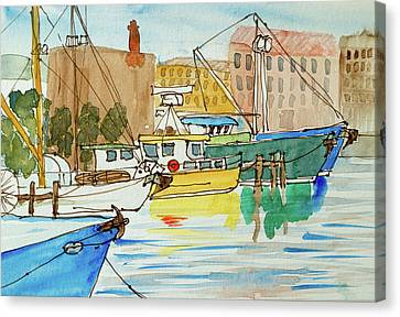 Fishing Boats In Hobart's Victoria Dock Canvas Print by Dorothy Darden