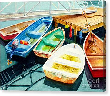 Fishing Boats Canvas Print by Karen Fleschler