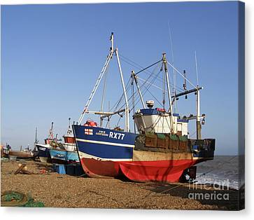 Fishing Boats On Hastings Stade Canvas Print by Terri Waters