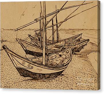 Fishing Boats On The Beach At Saintes-maries De La Mer, 1888 Canvas Print