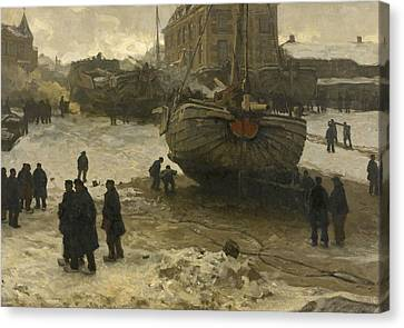 Fishing Boats On The Beach At Scheveningen Canvas Print by Willem Bastiaan Tholen