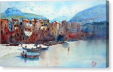 Fishing Boats On The Beach Of Cefalu Canvas Print by Andre MEHU