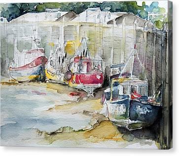 Fishing Boats Settled Aground During Ebb Tide Canvas Print by Barbara Pommerenke