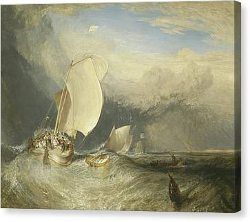 Fishing Boats With Hucksters Bargaining For Fish Canvas Print by Joseph Mallord William Turner