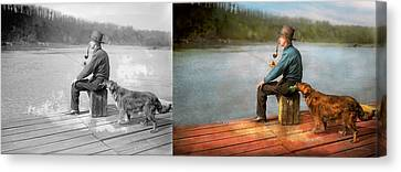 Fishing - Booze Hound 1922 - Side By Side Canvas Print by Mike Savad