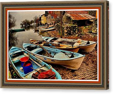 Fishing Canoes Lying Idle L B With Decorative Ornate Printed Frame. Canvas Print