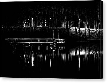 Canvas Print featuring the photograph Fishing Dock At Night 2017  by Thomas Young
