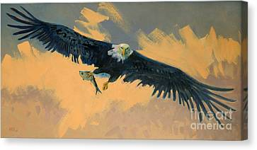 Fishing Eagle Canvas Print by Donald Maier