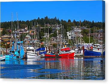 Fishing Fleet At Newport Harbor Canvas Print by Marty Fancy