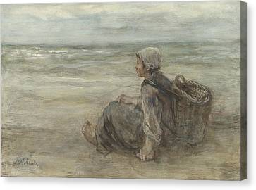 Fishing Girl On The Beach  Canvas Print by Jozef Israels