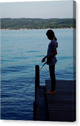 Fishing Girl Canvas Print by Steven Ainsworth