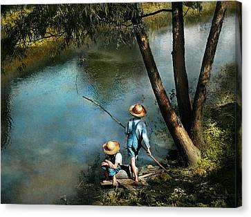 Fishing - Gone Fishin' - 1940 Canvas Print by Mike Savad