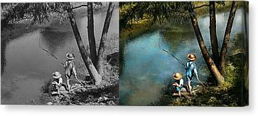 Fishing - Gone Fishin' - 1940 - Side By Side Canvas Print by Mike Savad