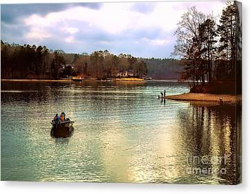 Canvas Print featuring the photograph Fishing Hot Springs Ar by Diana Mary Sharpton