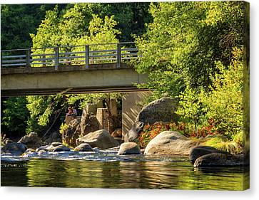 Fishing In Deer Creek Canvas Print by James Eddy