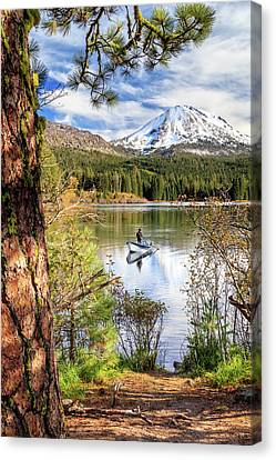 Canvas Print featuring the photograph Fishing In Manzanita Lake by James Eddy