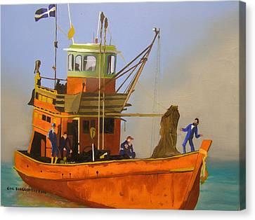 Fishing In Orange Canvas Print