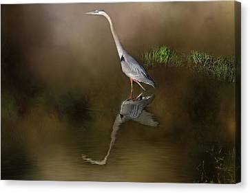 Canvas Print featuring the photograph Fishing In The Fog by Donna Kennedy