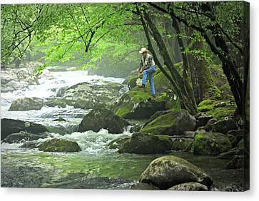 Fishing In The Smokies Canvas Print by Marty Koch