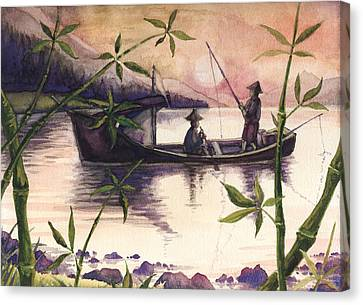Fishing In The Sunset   Canvas Print by Alban Dizdari