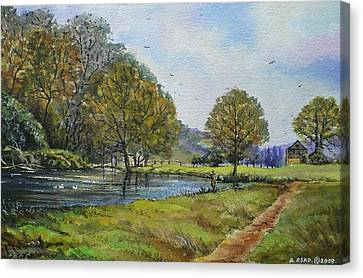 Fishing In The Wye Valley Canvas Print by Andrew Read